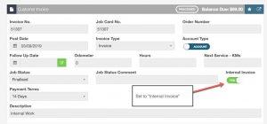 Internal Invoice in Workshop Software