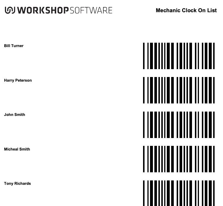 Mechanic Clocking Barcode Report