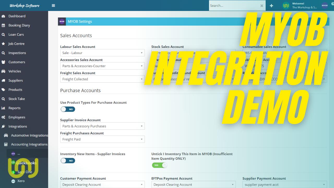 MYOB Integration with Workshop Software