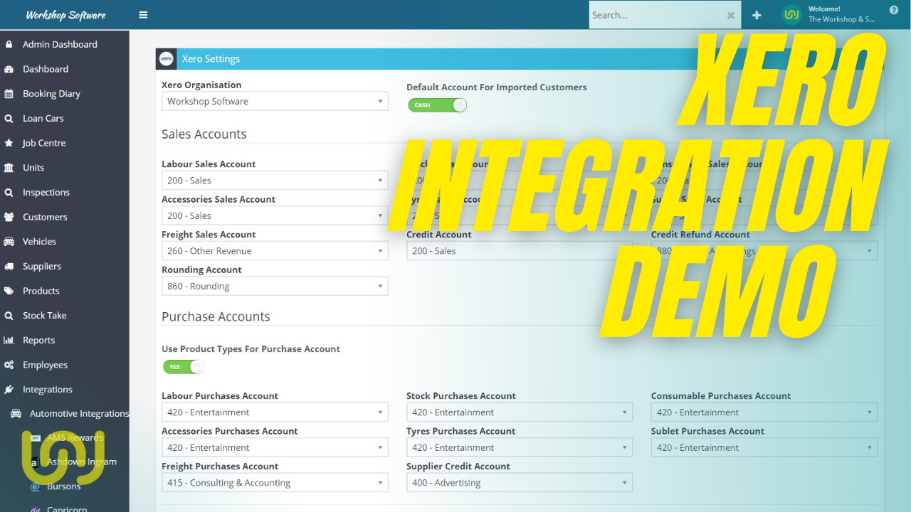 Xero Integration with Workshop Software