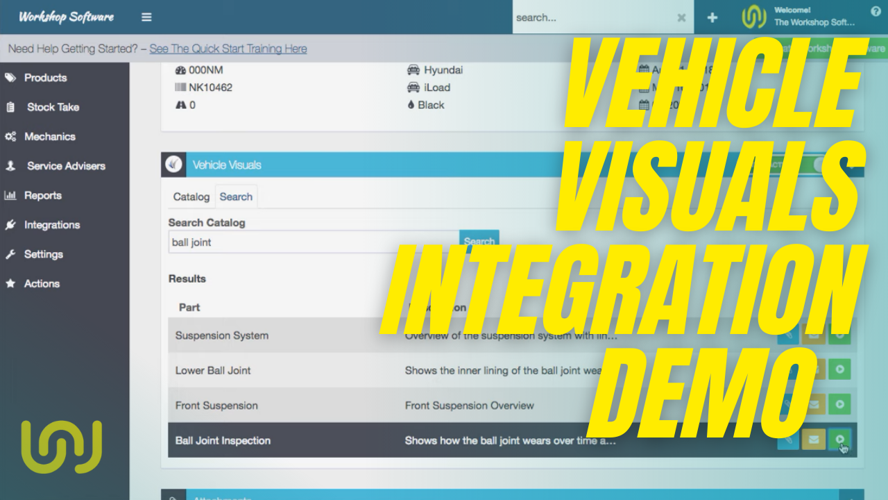 Workshop Software Integration with Vehicle Visuals